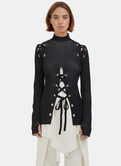 Lace-Up Roll Neck Ribbed Sweater