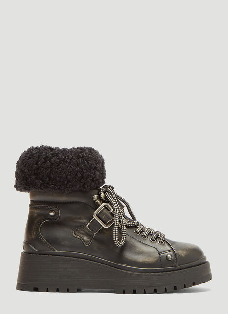 Miu Miu Bouclé Sock Chunky Leather Boots