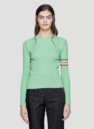 Marine Serre Knit Ribbed Open Back Top