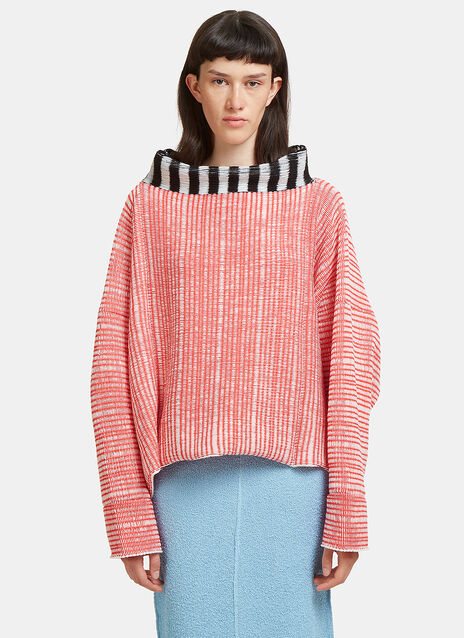 Oversized Woven Knit Dolman Sweater