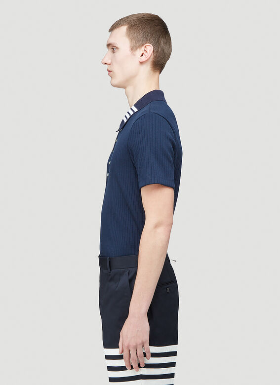 Thom Browne SHORT SLEEVE POLO W 4 BAR COLLAR IN 5X2 RIB 3