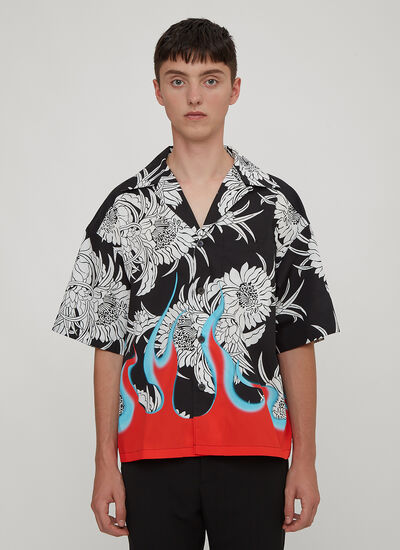 Prada Flames Hawaiian Bowling Shirt