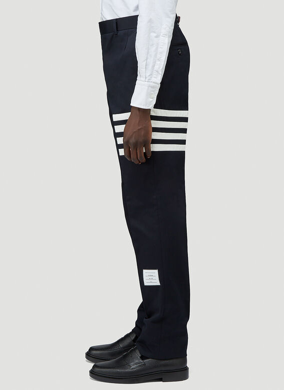 Thom Browne UNCONSTRUCTED CHINO TROUSER W/ SEAMED IN 4 BAR STRIPE IN COTTON TWILL 3