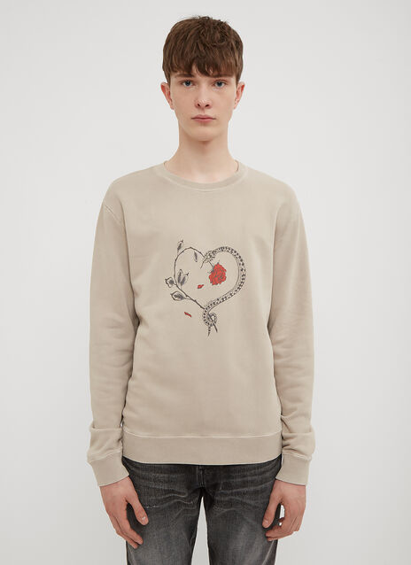 Saint Laurent Snake and Rose Logo Sweatshirt