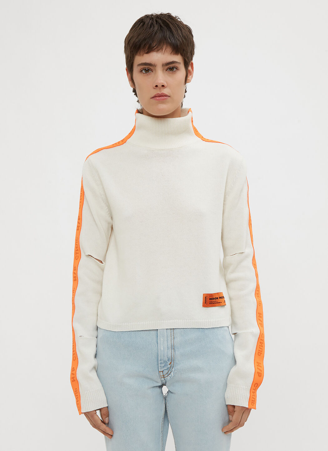 Heron Preston Cropped CTNMB Ribbed Turtle Neck Sweater in White