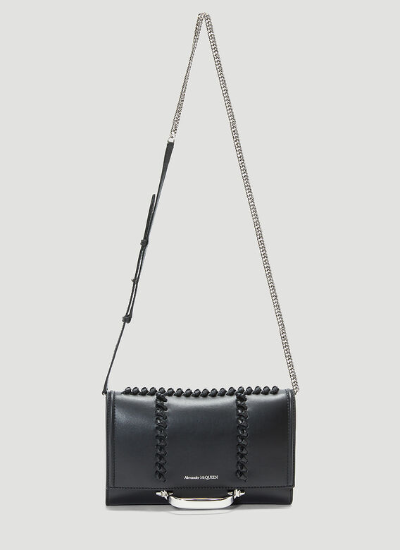 Alexander Mcqueen The Story Small Leather Shoulder Bag in Black
