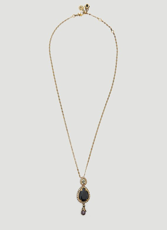 Alexander Mcqueen Long Jewelled Drop Necklace in Silver