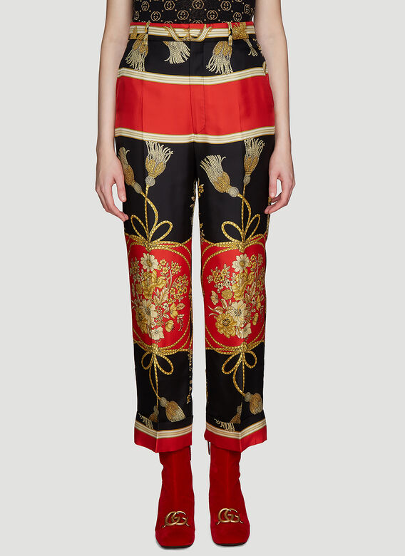 Gucci Flower and Tassel Silk Pants
