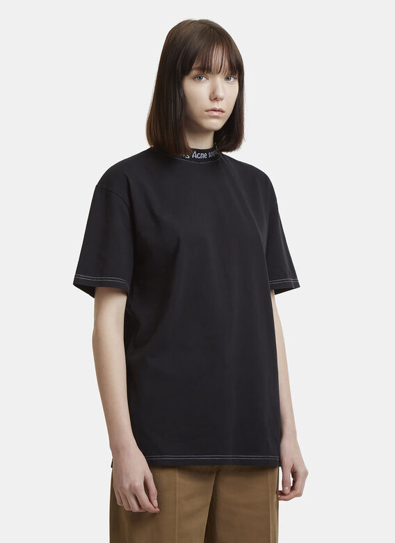 bb521ed66c29 Acne Studios Gojina Dyed Logo Crew Neck T-Shirt in Black | LN-CC