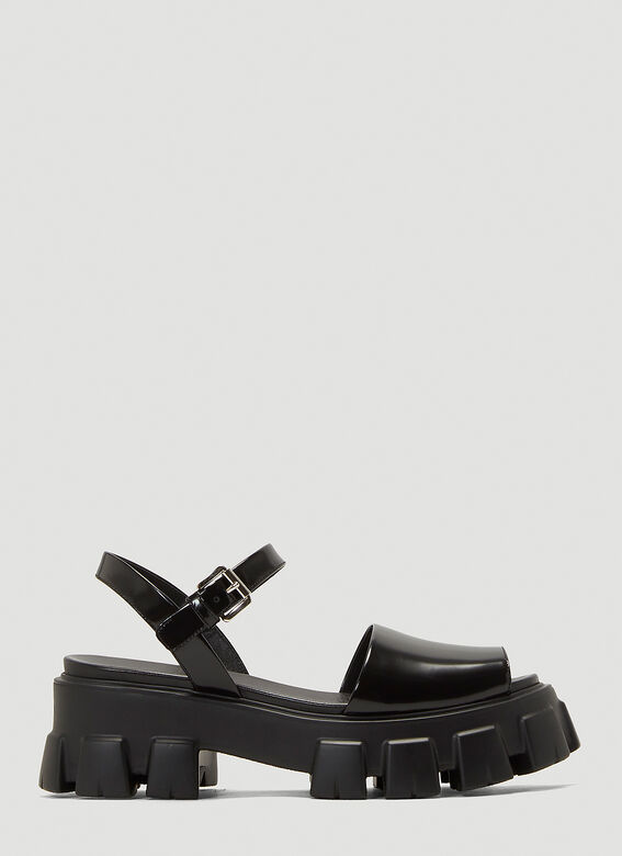 Prada Leather Platform Sandals in Black