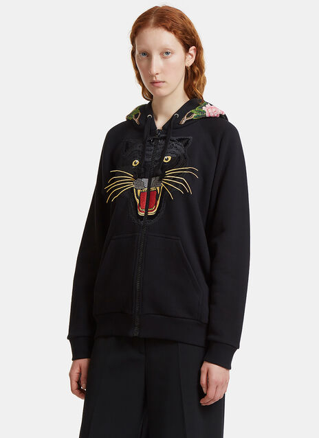 Angry Cat Embroidered Gucci Logo Print Hooded Sweater