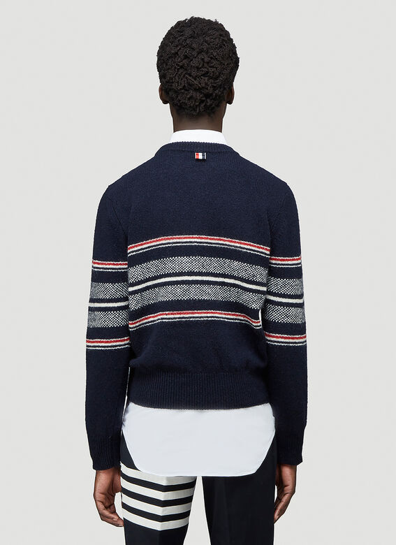 Thom Browne JERSEY SEASONAL BIRDSEYE JACQUARD CRICKET STRIPE RELAXED FIT CREWNECK PULLOVER IN MOHAIR TWEED 4