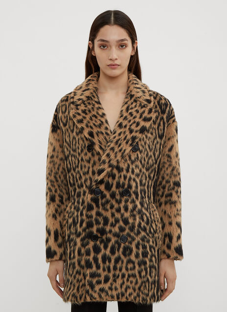 Saint Laurent Faux Fur leopard Print Coat