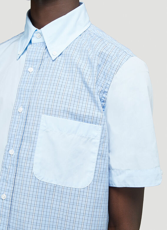 Thom Browne STRAIGHT FIT BUTTON DOWN SHORT SLEEVE SHIRT FUNMIX IN SMALL HAIRLINE CHECK POPLIN 6