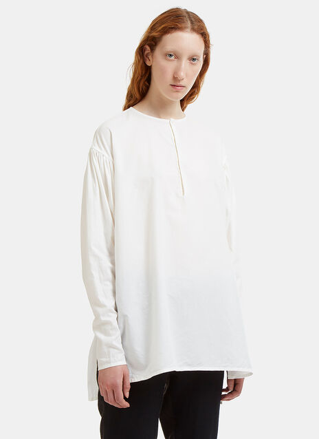 Basil Ruched Dropped Sleeve Shirt