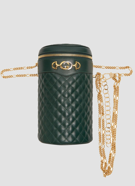 0b5de2be98f Quilted Leather Chain Bag in Green | LN-CC