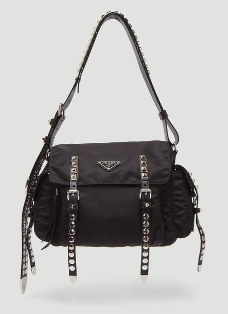 Prada Nylon Studded Shoulder Bag