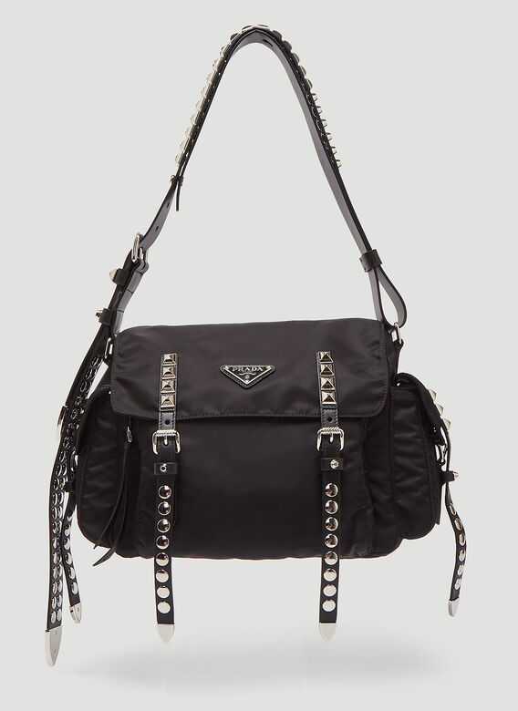 Prada Nylon Studded Shoulder Bag in Black  383c79ea95c5f