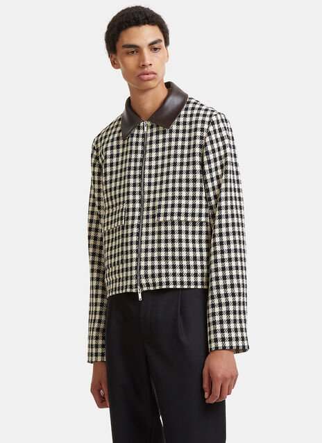 Louis Leather Collared Checked Jacket