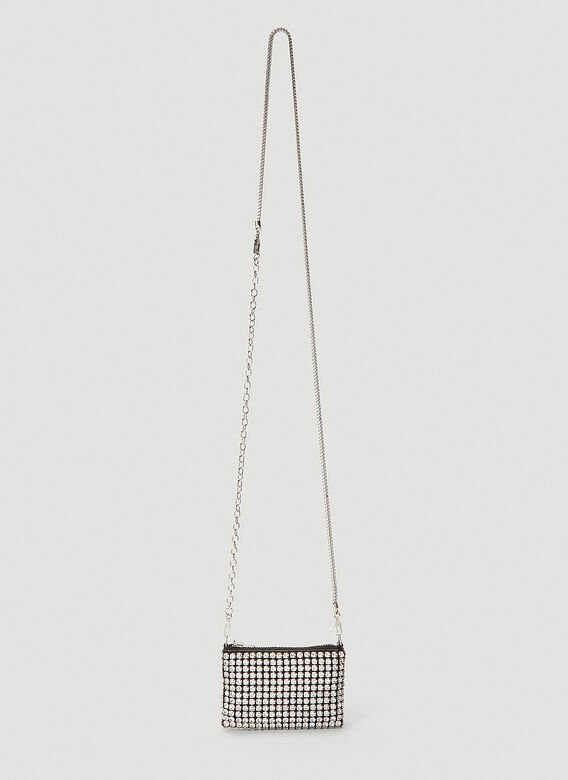 Alexander Wang Wangloc Rhinestone Mini Shoulder Bag In Silver