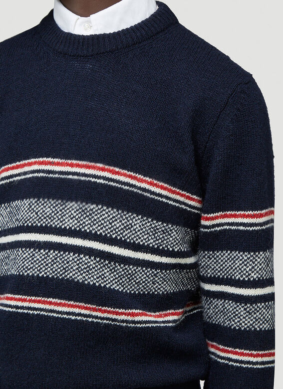 Thom Browne JERSEY SEASONAL BIRDSEYE JACQUARD CRICKET STRIPE RELAXED FIT CREWNECK PULLOVER IN MOHAIR TWEED 5