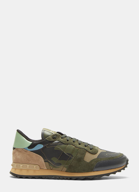 Valentino Camouflage Insert Leather Panelled Sneakers