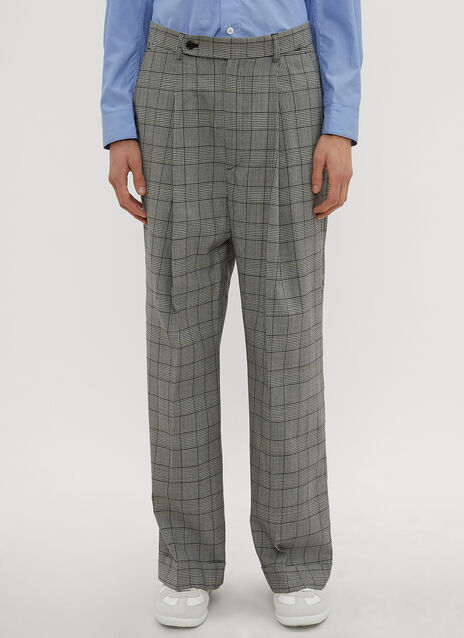 Hed Mayner Check Print Wide Leg Pants