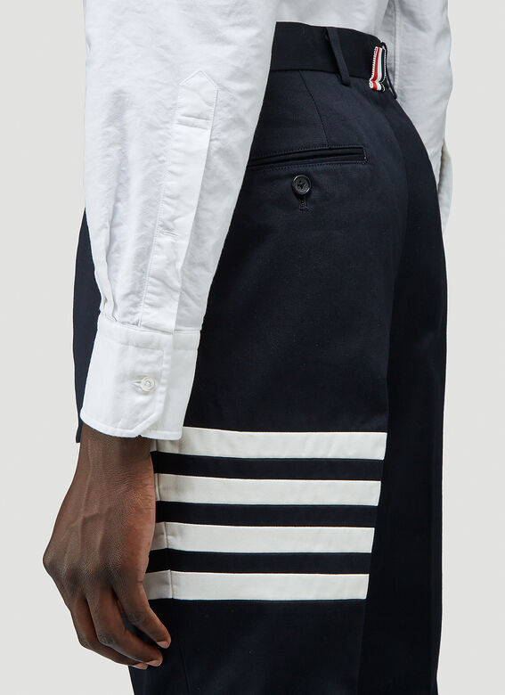 Thom Browne UNCONSTRUCTED CHINO TROUSER W/ SEAMED IN 4 BAR STRIPE IN COTTON TWILL 5
