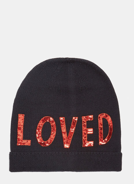 Gucci Sequin Embroidered Loved Knit Hat