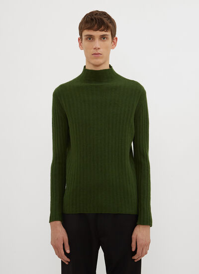 Federico Curradi Mock Neck Ribbed Knit Sweater