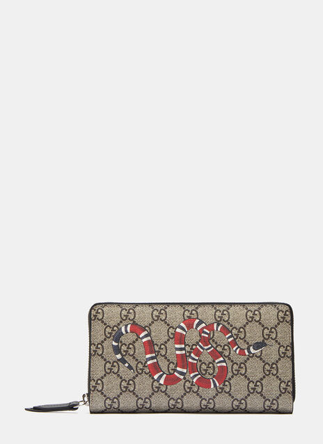 Gucci GG Supreme Snake Zip-Around Wallet