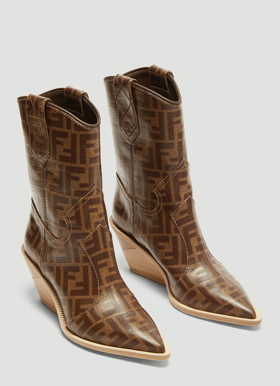 cc4c2869dfd Fendi FF Logo Cowboy Boots in Brown