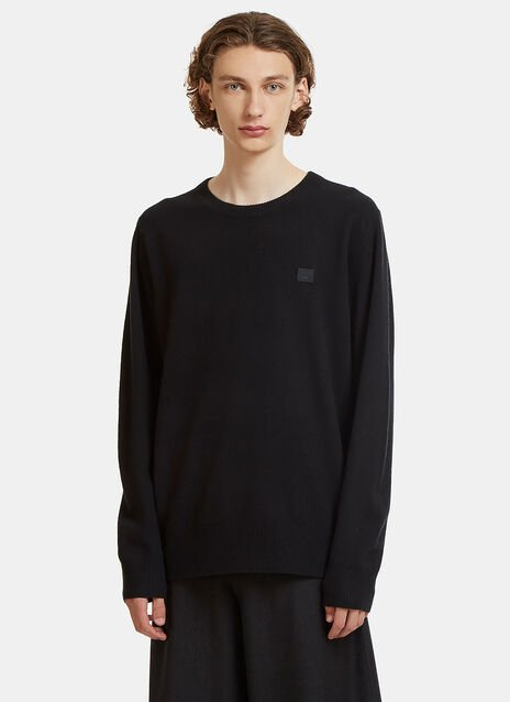 Acne Studios Nalon Face Embroidered Knit Sweater