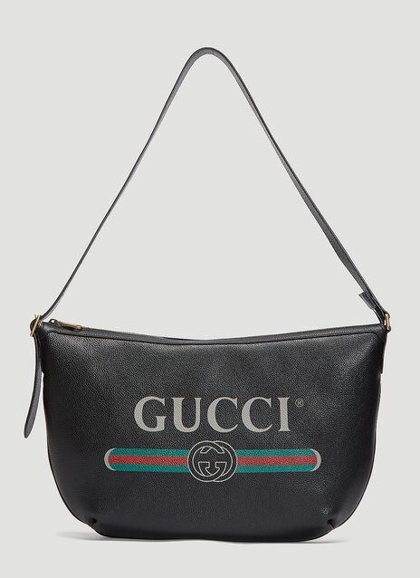 Gucci Logo Print Half-Moon Hobo Bag