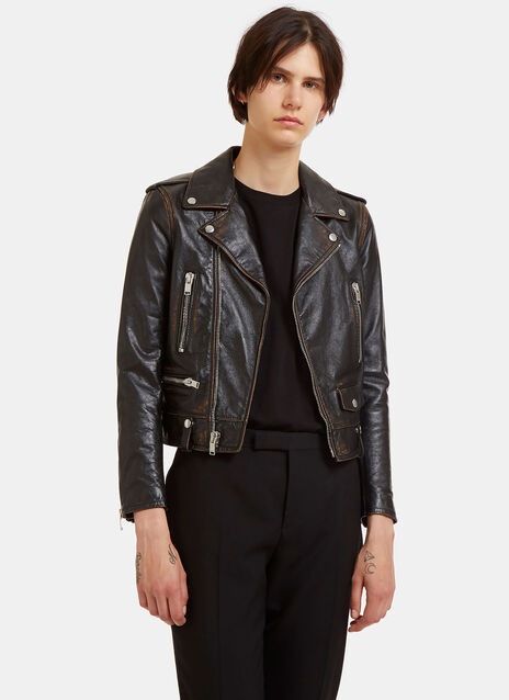 Saint Laurent Bouche Vintage Leather Motorcycle Jacket