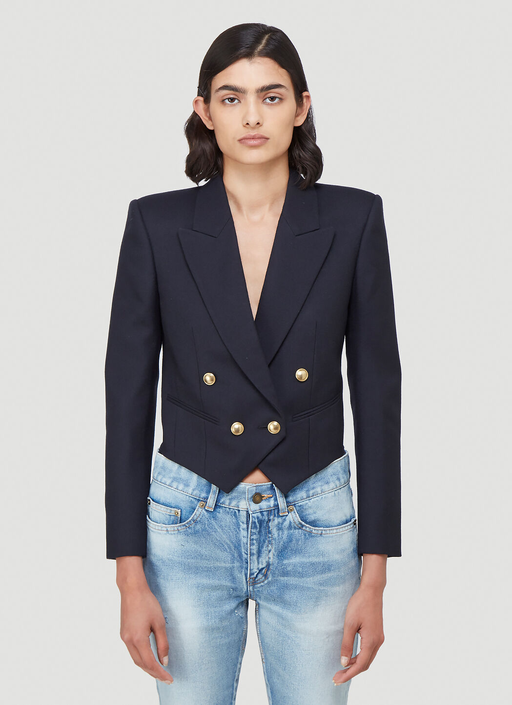 Saint Laurent Cropped Double Breasted Blazer | LN CC