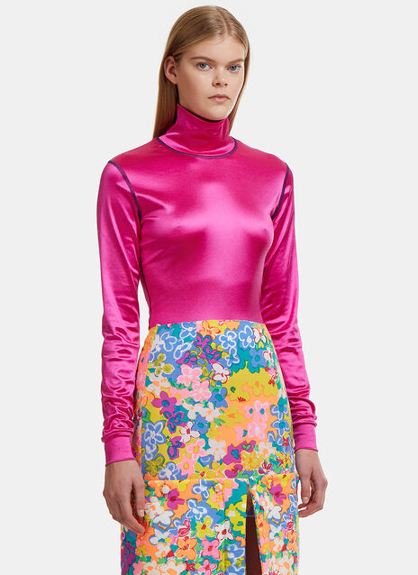Neon Sleek Turtleneck Top