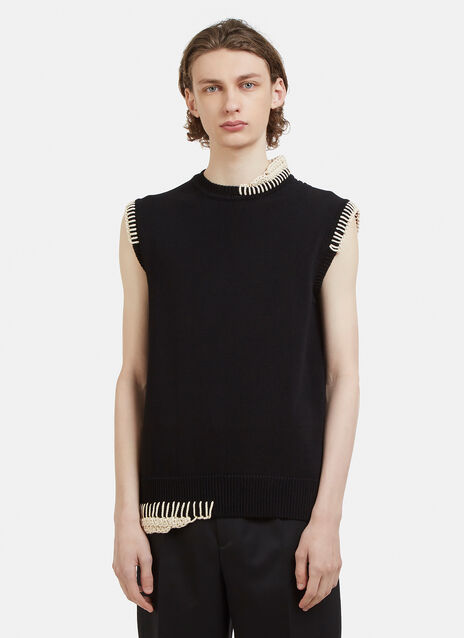 Jil Sander Whipstitch Sleeveless Knit Vest