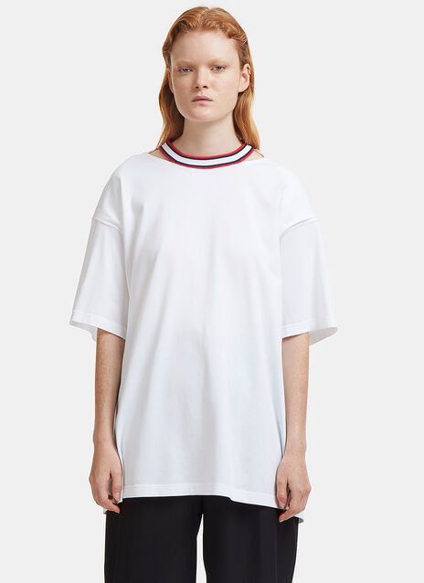 Oversized Open Back Ribbon Tied T-Shirt