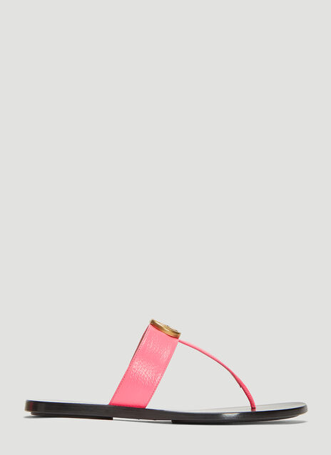 Gucci Double G Leather Thong Sandal