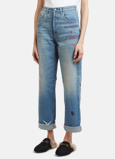 Gucci Mum Fit Embroidered Jeans