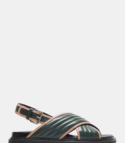 Contrast Trim Ribbed Leather Sandals