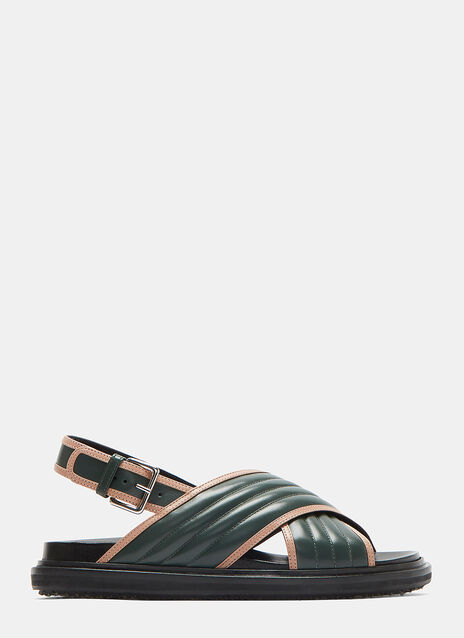 Marni Contrast Trim Ribbed Leather Sandals