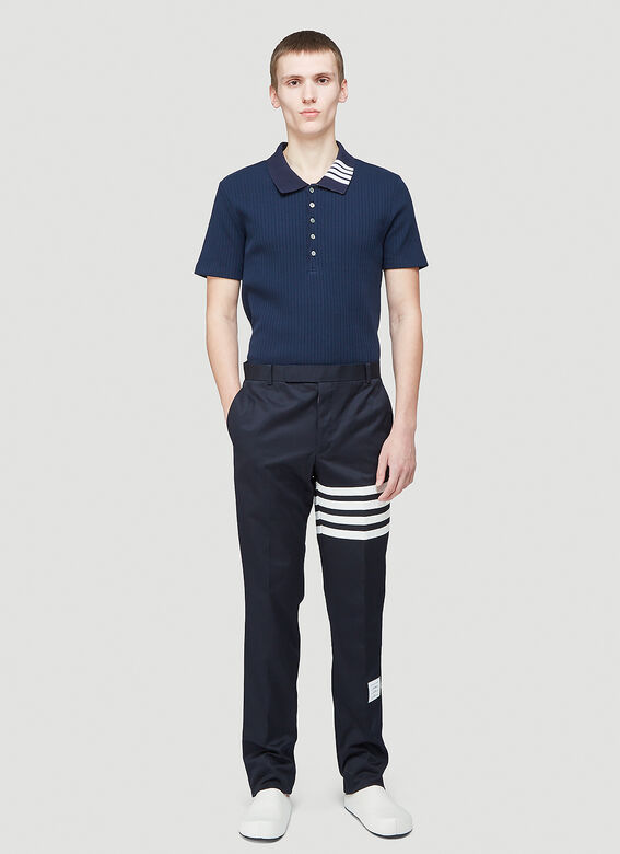 Thom Browne SHORT SLEEVE POLO W 4 BAR COLLAR IN 5X2 RIB 2