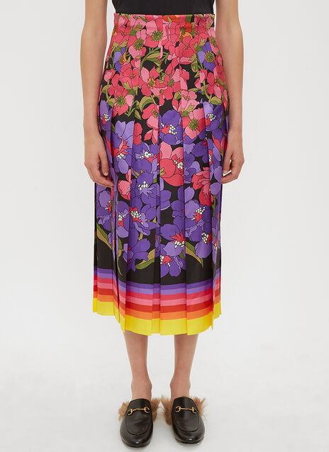Gucci Rainbow Flowers Silk Skirt
