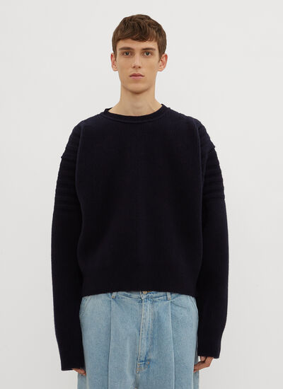 Hed Mayner Cropped Ribbed Knit Sweater