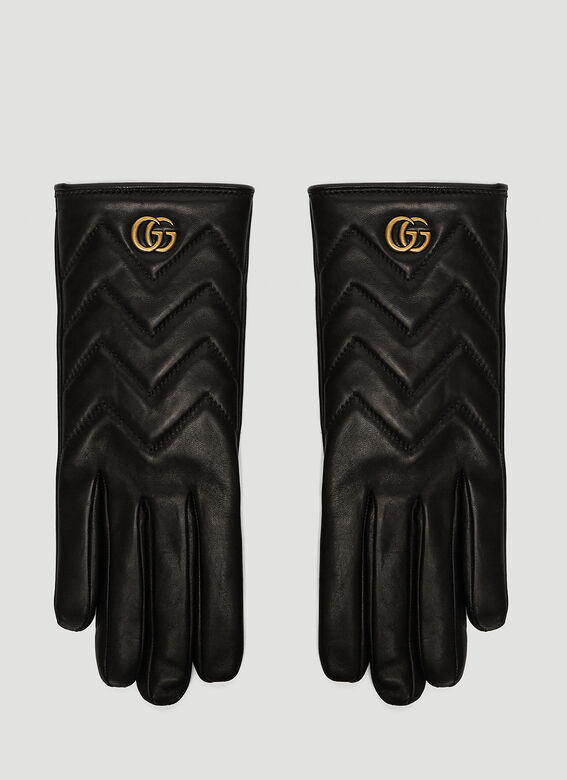 8c68527aa69 Gucci Marmont Chevron Leather Gloves in Black