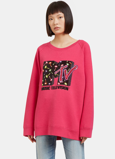 Oversized Sequin Embroidered MTV Sweater
