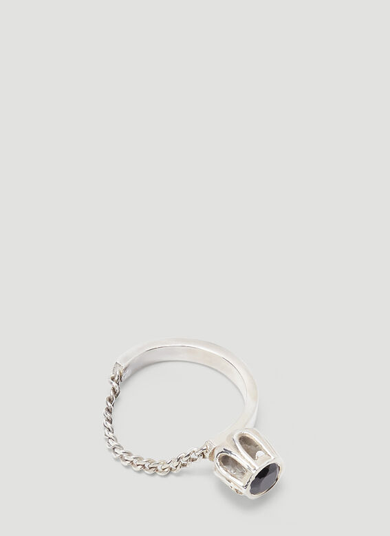 Mass STERLING SILVER BLACK SPINEL COBBLE RING 2