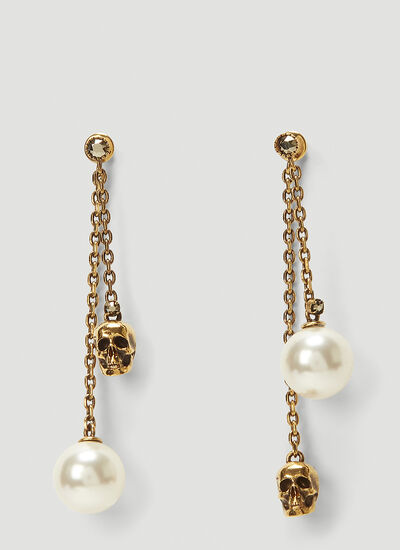 Alexander McQueen Faux-Pearl Skull Earrings